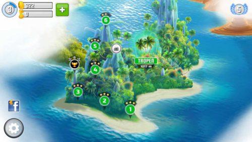 Jede Insel hat ein endloses Level, welches ihr so weit wie möglich schaffen müsst, um die weiteren Level freizuschalten