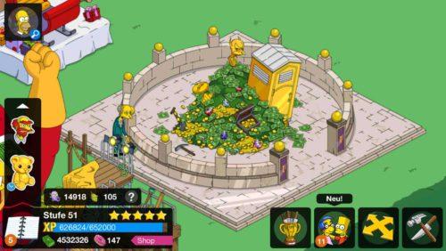 So funktioniert der Upgrade des Geldberg: Mr. Burns muss dazu Geld auf diesen werfen