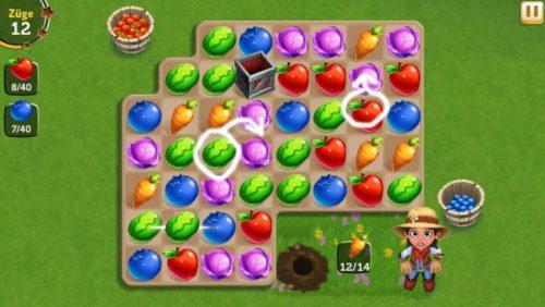 In FarmVille Erntetausch solltest du stets versuchen vier oder mehr Früchte miteinander zu verbinden