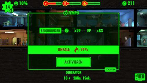 Der Fallout Shelter Tempomodus ist immer mit einem gewissen Risiko behaftet und kann zum Unfall führen