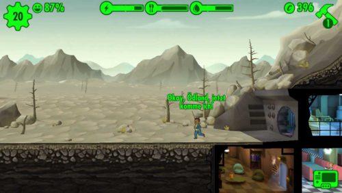 Gehe erst in die Ödland Erkungen in Fallout Shelter, wenn deine Ressourcen voll sind und der Bewohner Waffen und Rüstung anhat