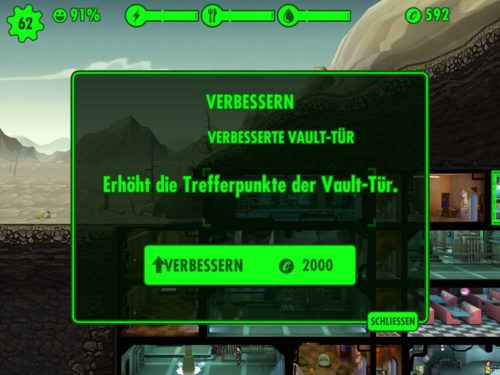 Verbessere die Vault-Tür in Fallout Shelter, um mehr Zeit zu haben