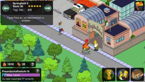 In anderen Springfields kannst du ebenfalls Fans antippen, was dir Schaumstoffhände bringt