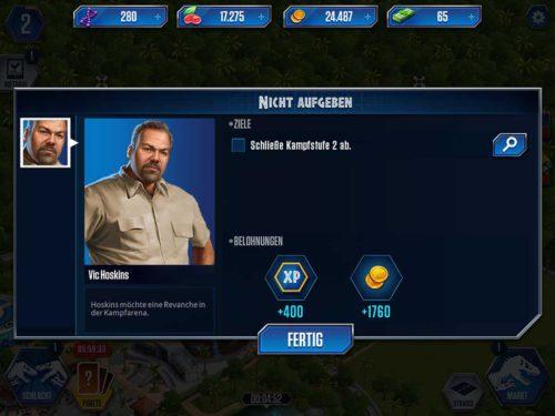Erfülle die Missionen und Ziele in Jurassic World, um die Währungen zu kassieren