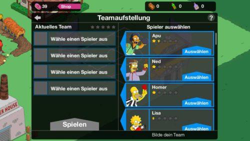 Schritt 1 beim Simpsons Springfield Tipp Ball: Spieler auswählen