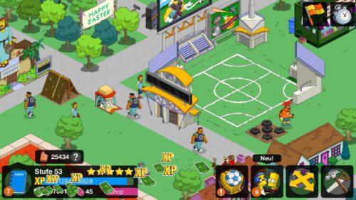 Warte ein wenig, bis sich möglichst viele Fans um das Stadion in Simpsons Springfield versammelt haben