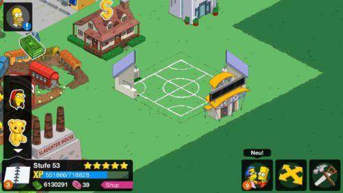 So startet ihr das Simpsons Springfield Tipp Ball Event: Stadion und Stadioneingang bauen