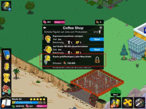 Um eine weitere Person für das Gebäude freizuschalten (wie hier Mr. Burns für den Coffee Shop), muss der Grundbesitz-Wert erhöht werden