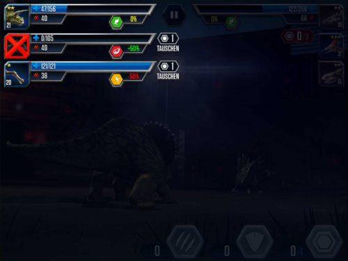 Während eines Kampfes in Jurassic World kann es sinnvoll sein, den Dinosaurier zu tauschen
