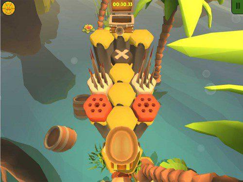 Auch wenn die Truhe und somit das Ziel des Levels nah ist, solltest du stets auf die Fallen in Nono Islands achten
