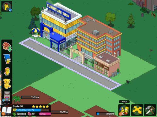 Platziere die Gebäude in Springfield Heights an einer Straße, damit deine Figuren schneller wieder der Arbeit nachgehen