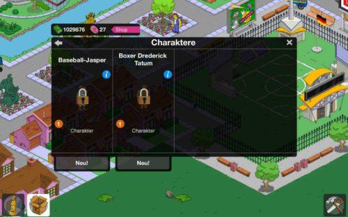 Simpsons Springfield Charakter im Inventar nicht freigeschaltet