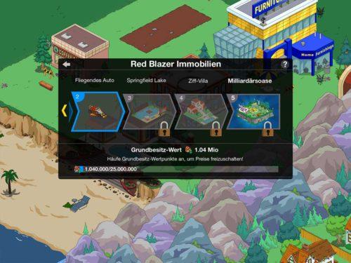 Simpsons Springfield Heights: Inde du den Grundbesitz-Wert erhöhst, kannst du Preise im Red Blazer Immobilien Büro freischalten