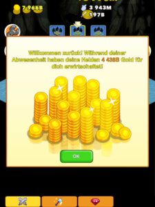 Wenn du die Spiele App Clicker Heroes startest, bekommst du zahlreiches Gold (Münzen) für die Zeit, die du offline warst