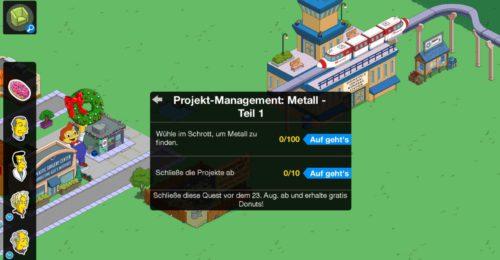 Wenn du die Storyline Projekt Management Metall noch bis zum 23. August abschließt, gibt es kostenlose Donuts in Simpsons Springfield