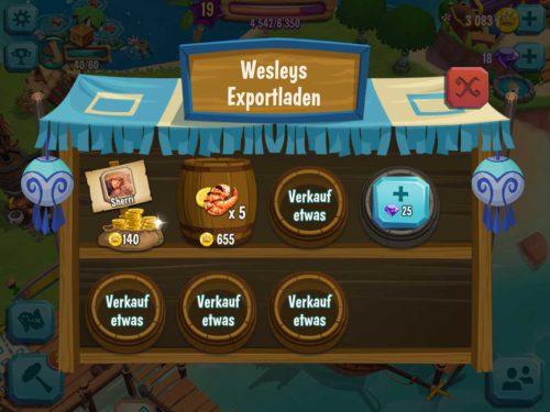 Sollte dein Paradise Bay Lager voll sein oder du brauchst viele Münzen, dann solltest du diese bei Wesleys Exportladen verkaufen