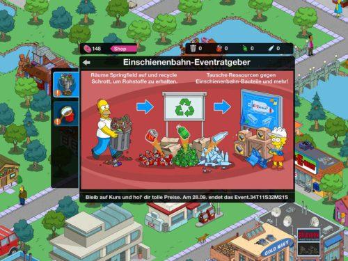 Simpsons Springfield Blaupausen sammeln, um neue Einschienenbahn-Abschnitte zu erhalten