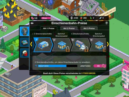 Simpsons Springfield Einschienenbahn Preise in der Übersicht