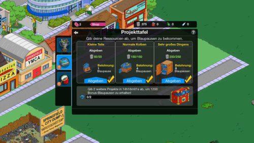 An der Projekttafel kannst du verschiedene Aufträge erfüllen, um so an Blaupausen beim Simpsons Springfield Monorail Event zu gelangen