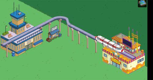 Simpsons Springfield Monorail aufbauen: Die Einschienenbahn-Bauteile kannst du wie Straßen platzieren, jedoch musst du diese erst sammeln
