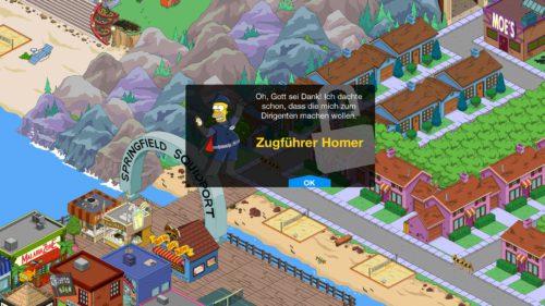 Beim Simpsons Springfield Monorail Event kannst du Zugführer Homer freischalten