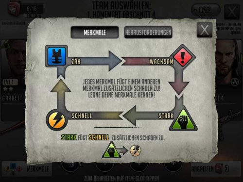 Tipp: Achte vor jedem Kampf in Walking Dead Road to Survival auf die Merkmale, denn so kann zusätzlicher Schaden erfolgen