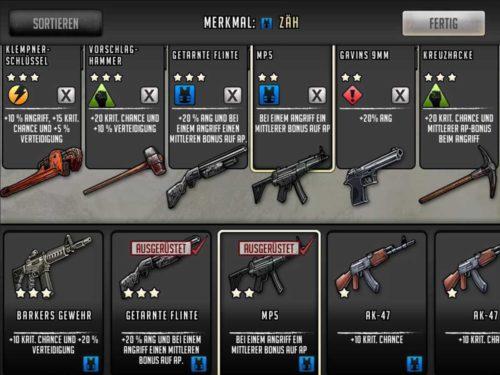 Rüste deine Personen in Walking Dead Road to Survival stets mit den besten Waffen aus