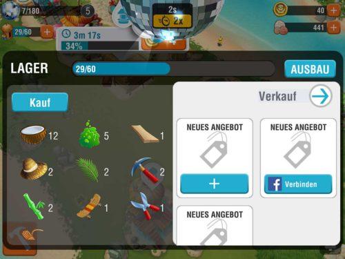 Im Lager kannst du deine Waren an andere Spieler von Minions Paradise verkaufen