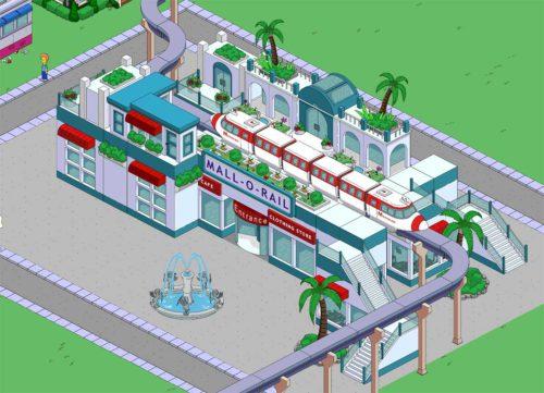 Simpsons Springfield Akt 3: Die Mall O Rail (Kaufbahnhof) ist der erste Preis wenn du genügend Schnickschnack gesammelt hast