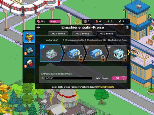 Simpsons Springfield Einschienenbahn Preise in Akt 3 im Überblick