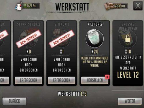 In der Werkstatt kannst du zahlreiche Kampf-Items herstellen, die du in Walking Dead Road to Survival im Kampf einsetzen kannst