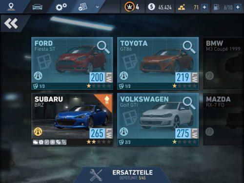 Um ein Fahrzeug in Need for Speed No Limits freizuschalten, musst du erst die angegebene Menge an Blaupausen sammeln