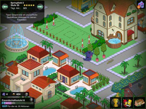 Bei Freunden und Nachbarn kannst du während des Simpsons Springfield Treehouse of Horror 2015 Events Schlangen antippen und gestaltlose Unwesen aussetzen