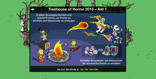 Im Screenshot sind die wichtigsten Aufgaben dargestellt, die ihr in Akt 1 vom Simpsons Springfield Treehouse of Horror 2015 Update machen müsst