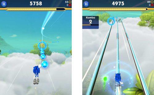 Nutze die Energiestrahlen oder den Sprung, um in die Luft von Sonic Dash 2 zu gelangen. Hiermit machst du einige Meter und sammelst Ringe sowie Kugeln auf