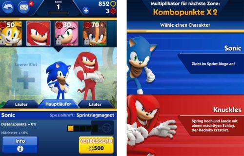 Stelle dein Team in Sonic Dash 2 zusammen, aus denen du beim Lauf dann wählen kannst