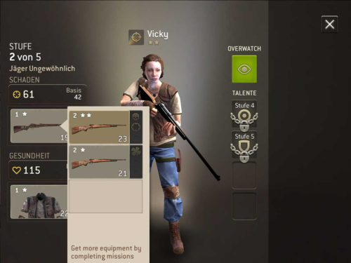 Rüste deine Charaktere in der App The Walking Dead No Man's Land mit besseren Waffen aus, um mehr Schaden zu machen