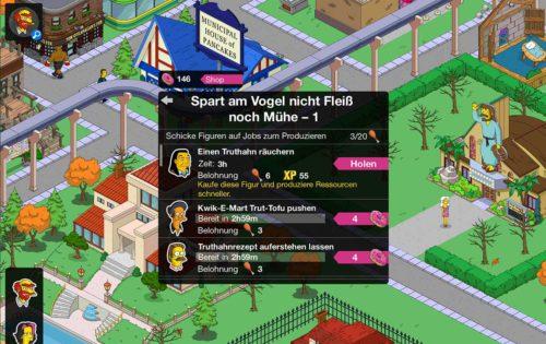 Keulen bekommst du auch indem du bestimmten Figuren von Simpsons Springfield Jobs zuteilst