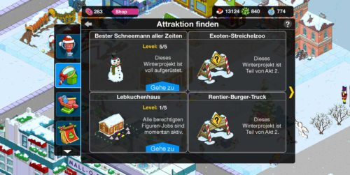 Attraktionen beim Simpsons Springfield Winter 2015 Event