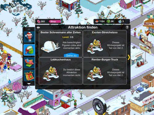 Im Laufe des Winter 2015 Event in Simpsons Springfield kannst du zahlreiche Attraktionen errichten - (c) EA