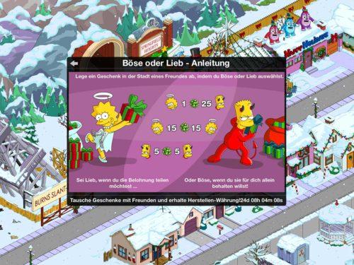 Beim Winter 2015 Event kannst du mit deinen Freunden Böse oder Lieb spielen - (c) Simpsons Springfield EA