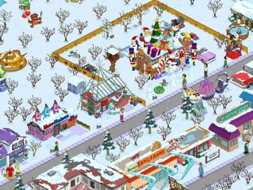 Der Schnee hat in der App Die Simpsons Springfield Einzug gehalten - (c) EA