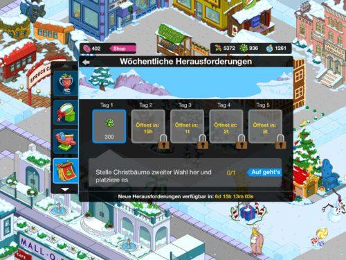 Die wöchentliche Herausforderung liegt aktuell darin, Christböäume zweiter Wahl herzustellen in der App Simpsons Springfield