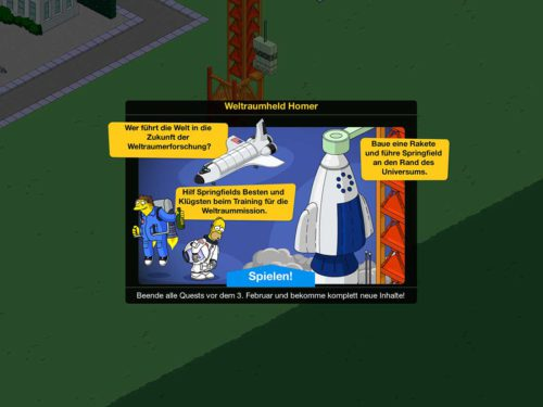 So funktioniert die Mini-Aufgabe Weltraumheld Homer bei Simpsons Springfield