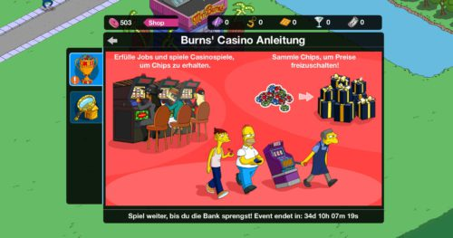Simpsons Springfield Burns Casino Event Guide