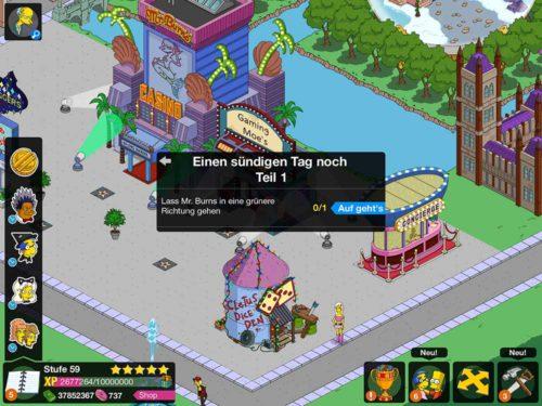 """Die Storyline """"Einen sündigen Tag noch"""" startet automatisch mit Akt 2 beim Simpsons Springfield Burns Casino Event"""