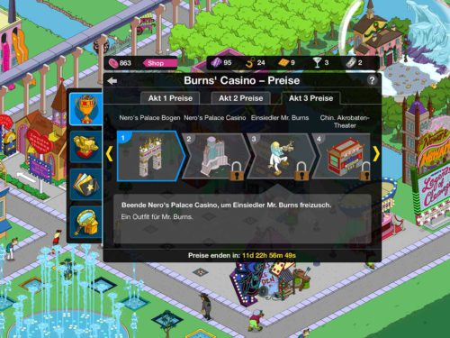 Übersicht über die Preise bei Simpsons Springfield Burns Casino Akt 3
