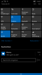 Windows 10 Mobile - Action Center