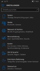 Windows 10 Mobile - Einstellungen