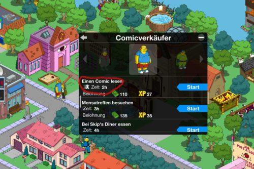 Bei einigen Aufgaben wie hier beim Comicbuchverkäufer ist ein weißes Icon neben der Quest - Doch was hat das in Simpsons Springfield für eine Bedeutung?